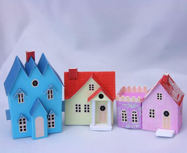 цветные домики из бумаги