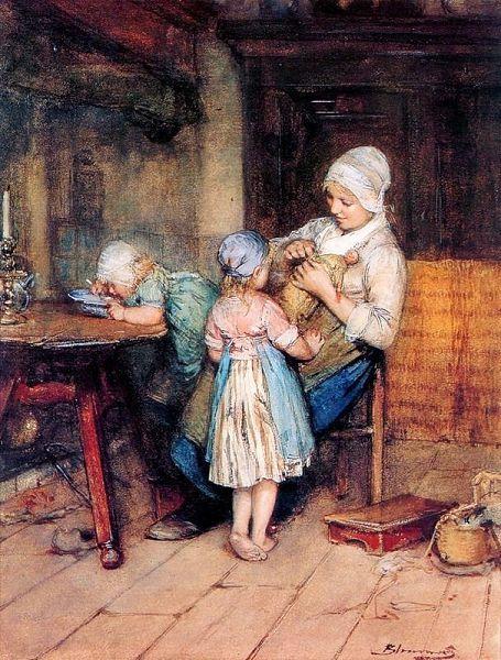 мать шьет куклу